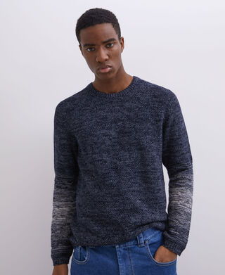 Combined cotton crew neck sweater