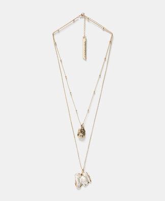 Collar doble cadena y perla natural