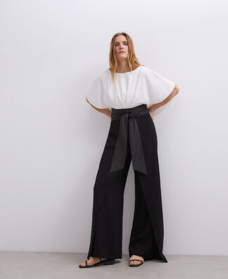 TWO-TONE JUMPSUIT WITH BELT DETAIL