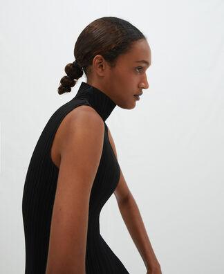 Perkins collar crinkle top