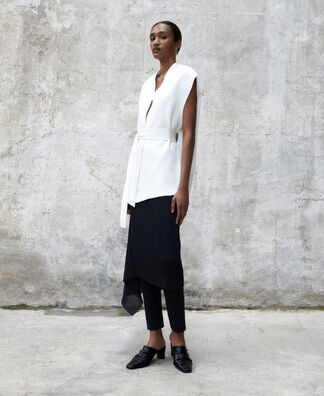 Double-fronted viscose waistcoat