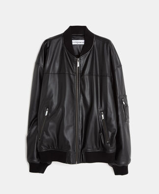 Leather texture oversize bomber