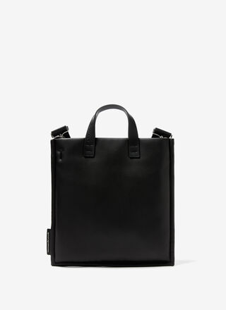 Faux leather padded shopper bag