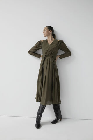 MIDI DRESS WITH FRONT PLEATS