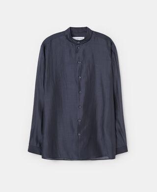 Camisa cuello mao semitransparente