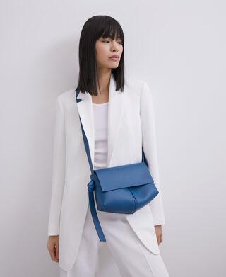 Blue Vachetta leather flap crossbody bag