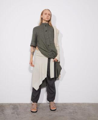 Midi dress in green European linen