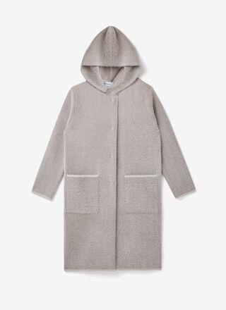 Houndstooth knit jacquard duffle coat