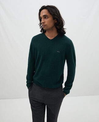 Cotton and wool roll neck sweater