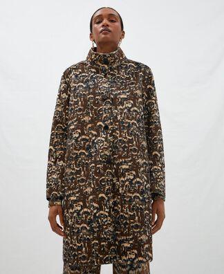 Abrigo estampado cuello mao