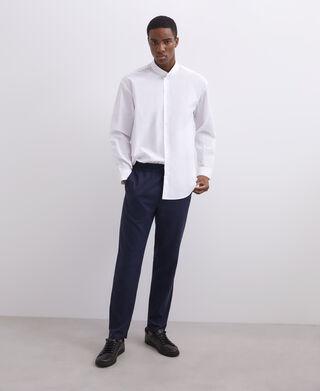 Oversized cotton mandarin collar shirt