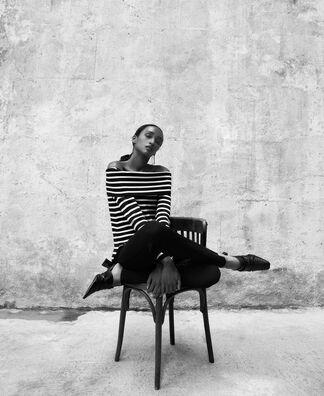 Striped sweater with straight neckline