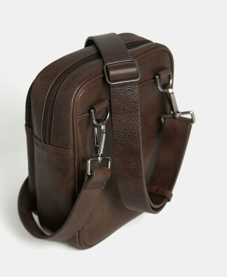Small shoulder bag in aged leather