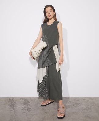 Two-tone jacquard linen dress