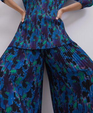 Neon printed crinkle trousers