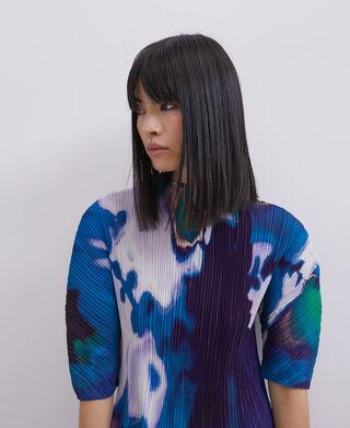 Neon printed crinkle midi dress
