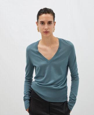 Jersey escote pico en lana merino