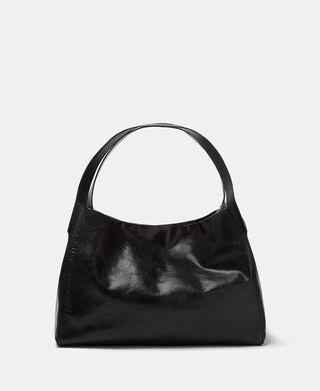 Cracked leather shopper bag