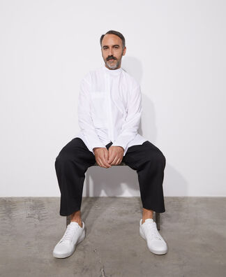 Mandarin collar cotton shirt