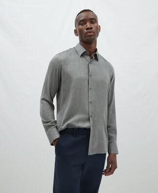 Camisa botón oculto en viscosa y nylon