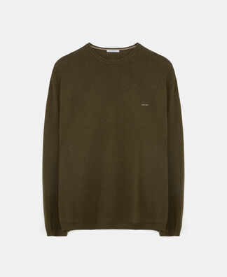 V-neck sweater in cotton and wool