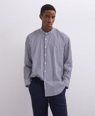 Mandarin collar sailor stripe shirt