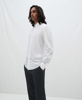 Cutaway collar cotton shirt