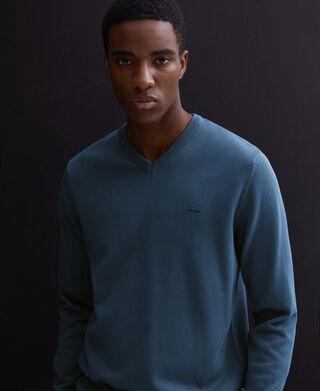 Jersey cuello pico en algodón