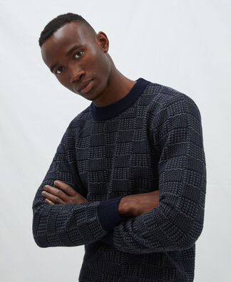 Cotton plaid structure sweater