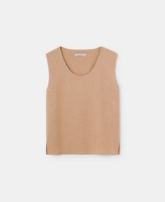 SLEEVELESS ROUND COLLAR TOP
