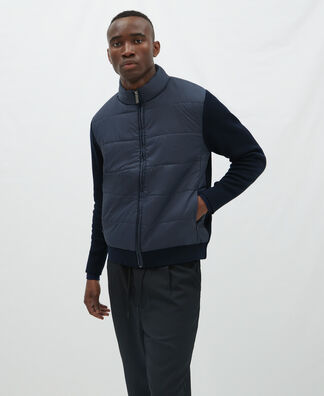 Cardigan in padded and knitted fabric