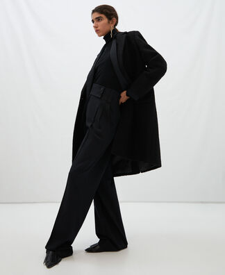 Tailored boiled wool coat