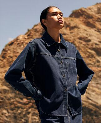 Cotton denim textured overshirt