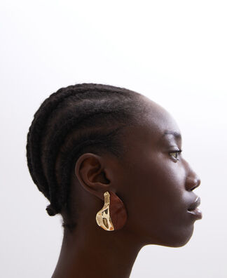 Organic wood and metal earrings