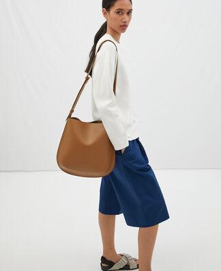 Rounded leather shoulder bag