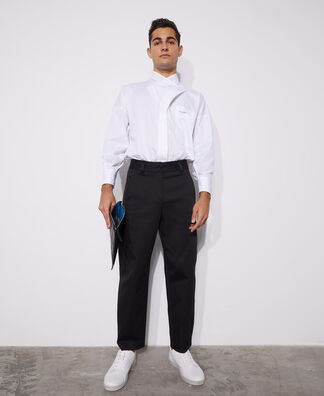 Crossover flap cotton shirt