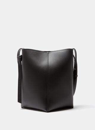 Black Vachetta leather bag triangular base