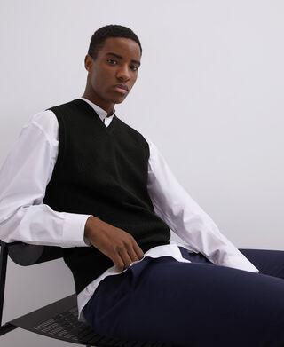Chaleco de punto cuello pico en algodón