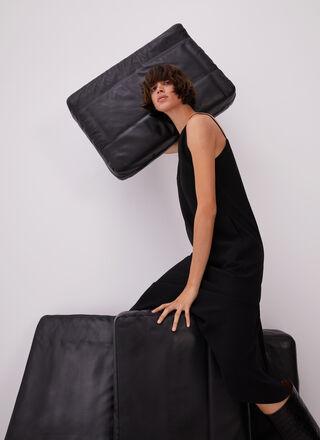 SLEEVELESS MIDI BLACK DRESS