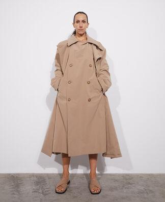 Maxi-lapel crossover trench coat