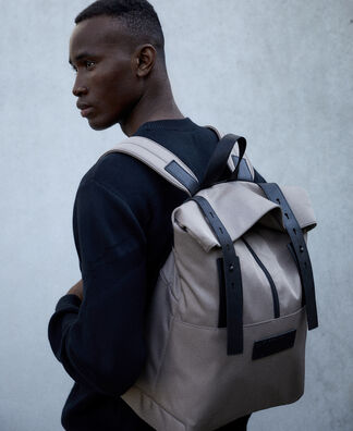 Nylon and leather texture backpack