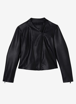 FAUX LEATHER SLIM FIT JACKET WITH ZIPPER