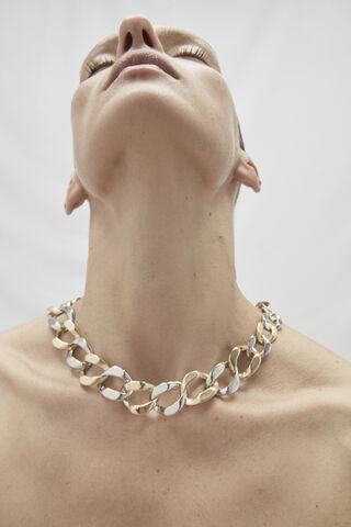 BICOLOUR NECKLACE WITH IRREGULAR LINKS