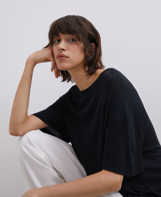 OVERSIZED VISCOSE CREW NECK T-SHIRT