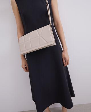 Double crossbody bag with geometric line