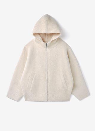 Knit faux fur jacket