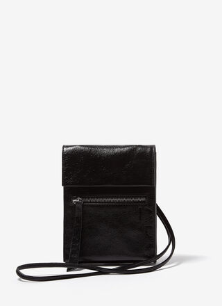 GLOSSY LEATHER SMALL FLAT CROSSBODY BAG