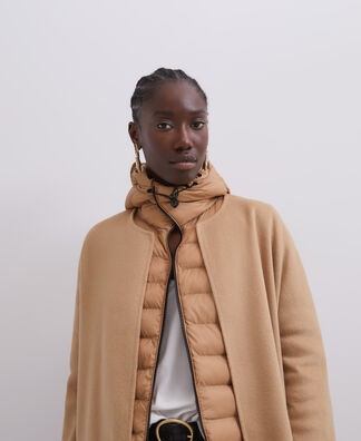 CAMEL PADDED JACKET WITH HOOD