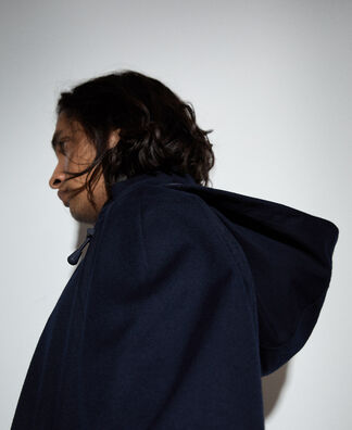 Hooded sailor trench coat