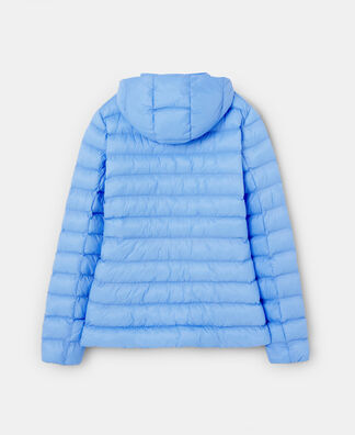 Light blue padded jacket with hood